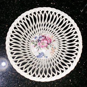 Antique Floral Basket Bowl